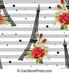 Seamless floral pattern with Eiffel towers on striped background. Vector illustration