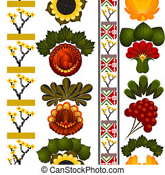 Seamless floral pattern with elements of painting Petrikov