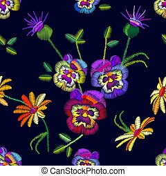Seamless floral pattern with embroidered pansies and chamomiles.