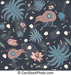 Seamless Floral Pattern with exotic kiwi bird. Hand Drawn.