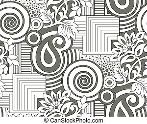 Seamless floral pattern with geometrical shapes