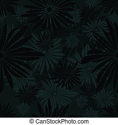 Seamless floral pattern with green and gray flowers on dark background