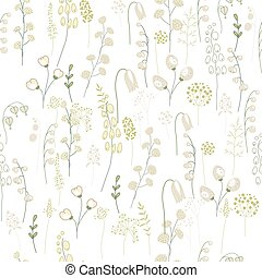 Seamless floral pattern with green twigs. Endless texture...