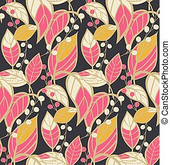 Seamless floral pattern with hand drawn leaves