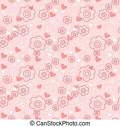 Seamless floral pattern with hearts on a pink background