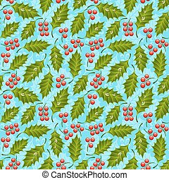 Seamless floral pattern with holly. Vector illustration.