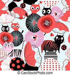 Seamless floral pattern with lovers cats