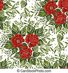Seamless floral pattern with of red roses. Vector illustration.