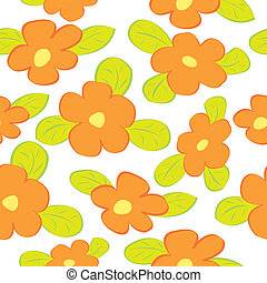 Seamless floral pattern with orange flowers