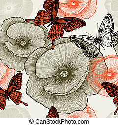 Seamless floral pattern with poppies and butterflies. Vector...