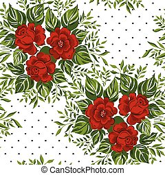 Seamless floral pattern with Red Roses. Vector illustration.