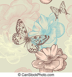Seamless floral pattern with roses and butterflies,...