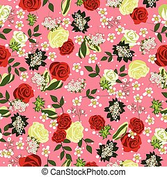 Seamless floral pattern with Roses. Vector illustration.