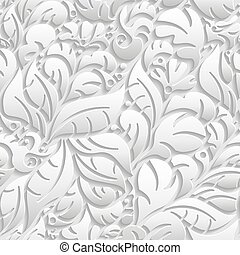 Seamless floral pattern with shadow - Vector floral 3d...