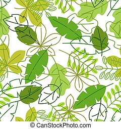 Seamless floral pattern with stylized green leaves. Spring or summer foliage