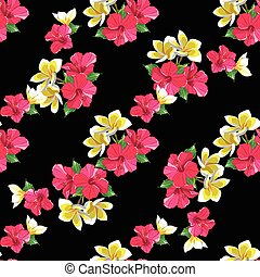 Seamless floral pattern with tropical flowers.