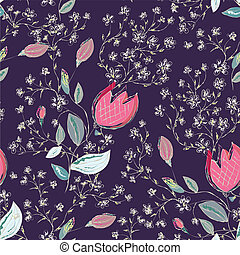 Seamless floral pattern with tulips ornate