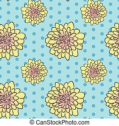 Seamless floral pattern with yellow aster flowers