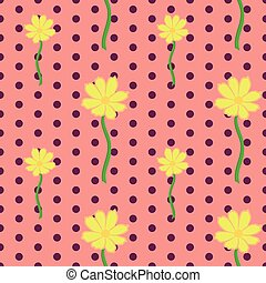 Seamless floral pattern with yellow cosmos flowers
