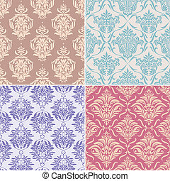seamless floral patterns - set of seamless floral pattern...