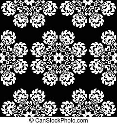 Seamless floral Polish folk pattern - Repetitive white...