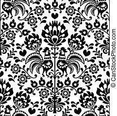 Seamless floral Polish folk pattern - Repetitive black...