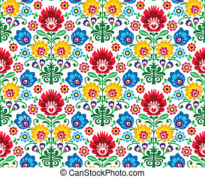 Seamless floral polish pattern - Repetitive background -...