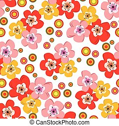 seamless, floral, printemps, modèle