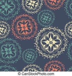 seamless, floral, retro, model, voor, behang