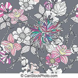 seamless, floral, retro, padrão