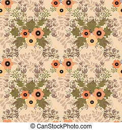 Seamless floral retro pattern on beige