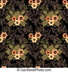 Seamless floral retro pattern on black