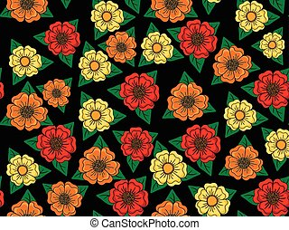 Seamless floral retro pattern on black background