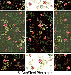 Seamless floral roses pattern dotted background
