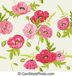 seamless, floral, roto, chique, fundo, -, em, vetorial