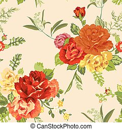Seamless Floral Shabby Chic Background - in vector
