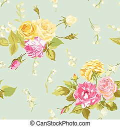 Seamless Floral Shabby Chic Background - Vintage Roses Flower- in vector