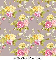 Seamless Floral Shabby Chic Background - Vintage Roses ...