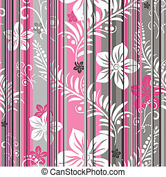 Seamless floral striped pattern - Pink-grey-white floral...