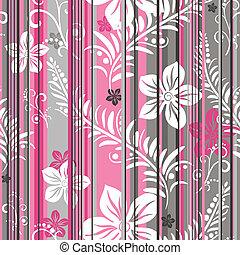 Seamless floral striped pattern