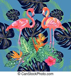 seamless floral summer pattern background with tropical palm leaves, flamingo, hibiscus.