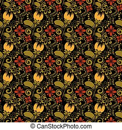 Seamless floral texture on black background. Khokhloma. Vector i