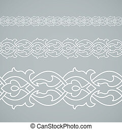 Seamless floral tiling border. Inspired by old ottoman and arabian ornaments