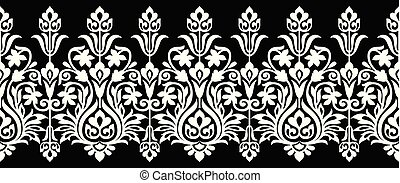 Seamless floral vector border for lace