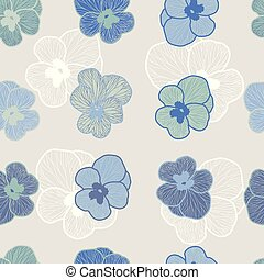 Seamless floral vector pattern in shades of blue.