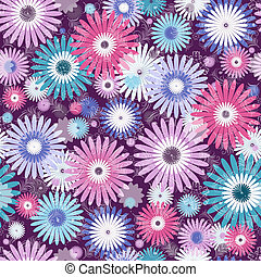 Seamless violet, pink and white-blue floral pattern with vivid flowers and translucent leaves (vector EPS 10)