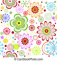 Seamless floral white, red, pink and green vivid pattern (vector)