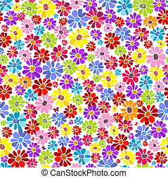 Seamless floral vivid pattern with colorful flowers (vector)
