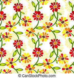 Seamless floral vivid pattern with deformed flowers (vector)