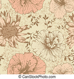 Seamless floral wallpaper, hand-drawing. Vector illustration.